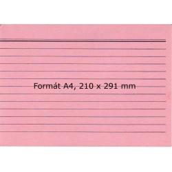 Lístkovnicové karty A4 linkované, červené, 100 ks