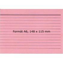 Lístkovnicové karty A6 linkované, červené, 100 ks