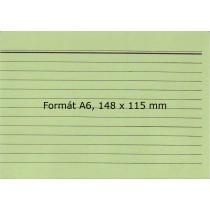 Lístkovnicové karty A6 linkované, zelené, 100 ks